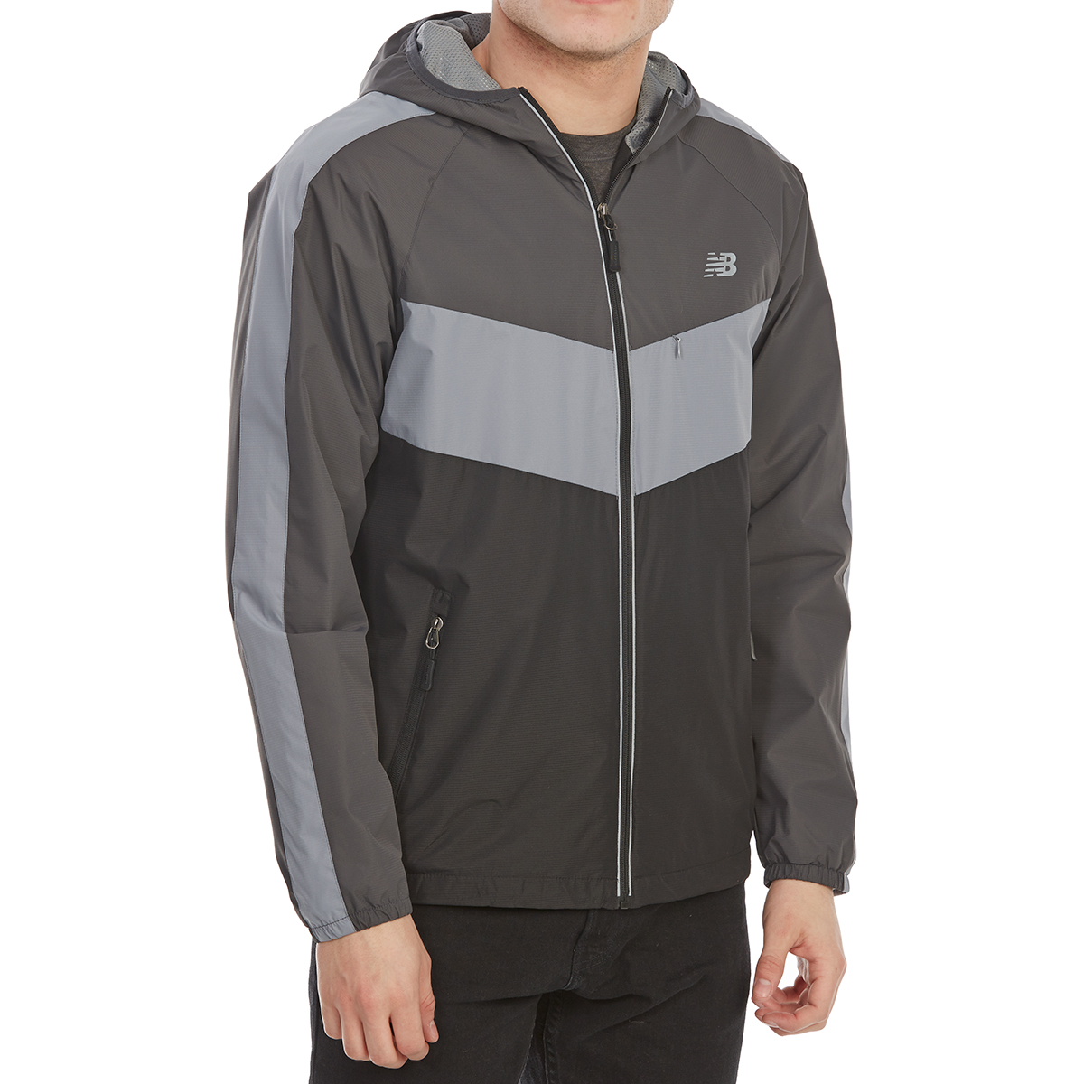 New Balance Men's Poly Dobby Color-Block Jacket - Black, L