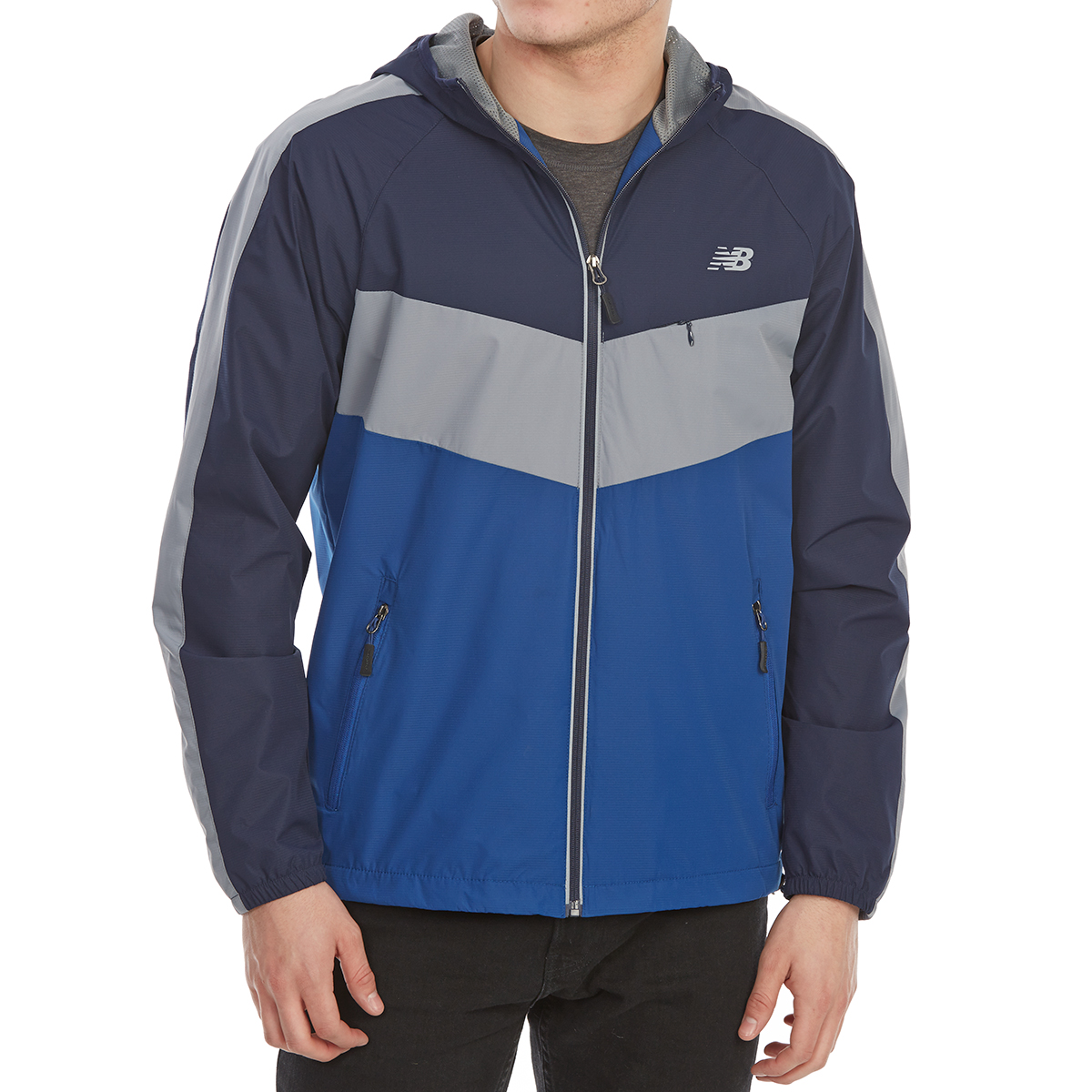 New Balance Men's Poly Dobby Color-Block Jacket - Blue, L