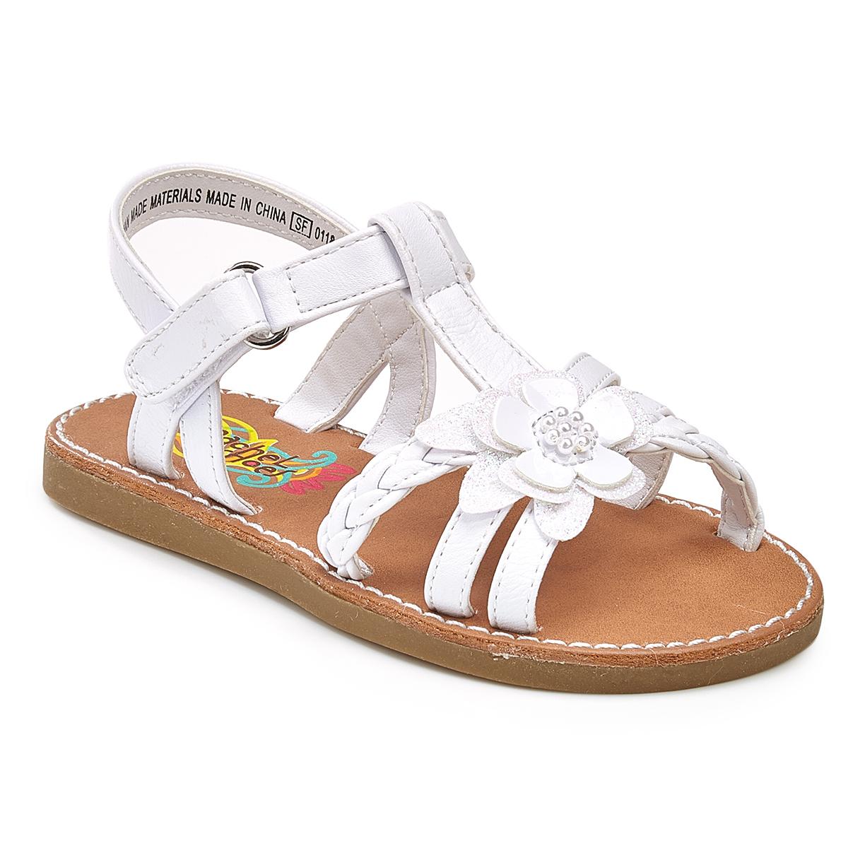 Rachel Shoes Toddler Girls' Krissy Flower Play Sandals - White, 8