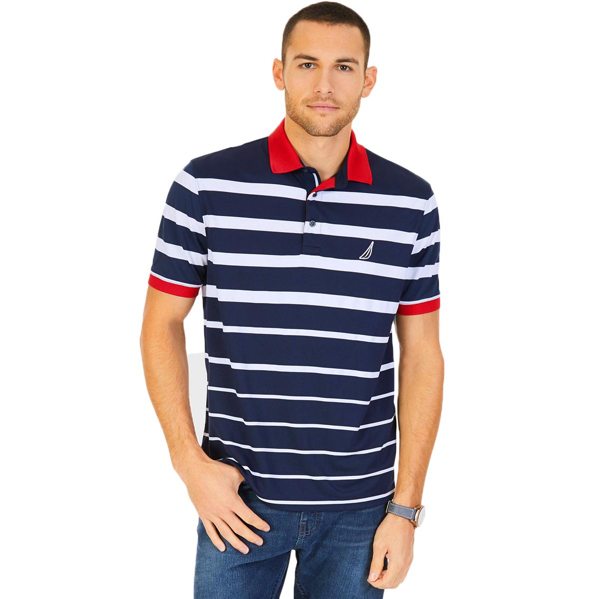 Nautica Men's Striped Performance Polo Shirt - Blue, M