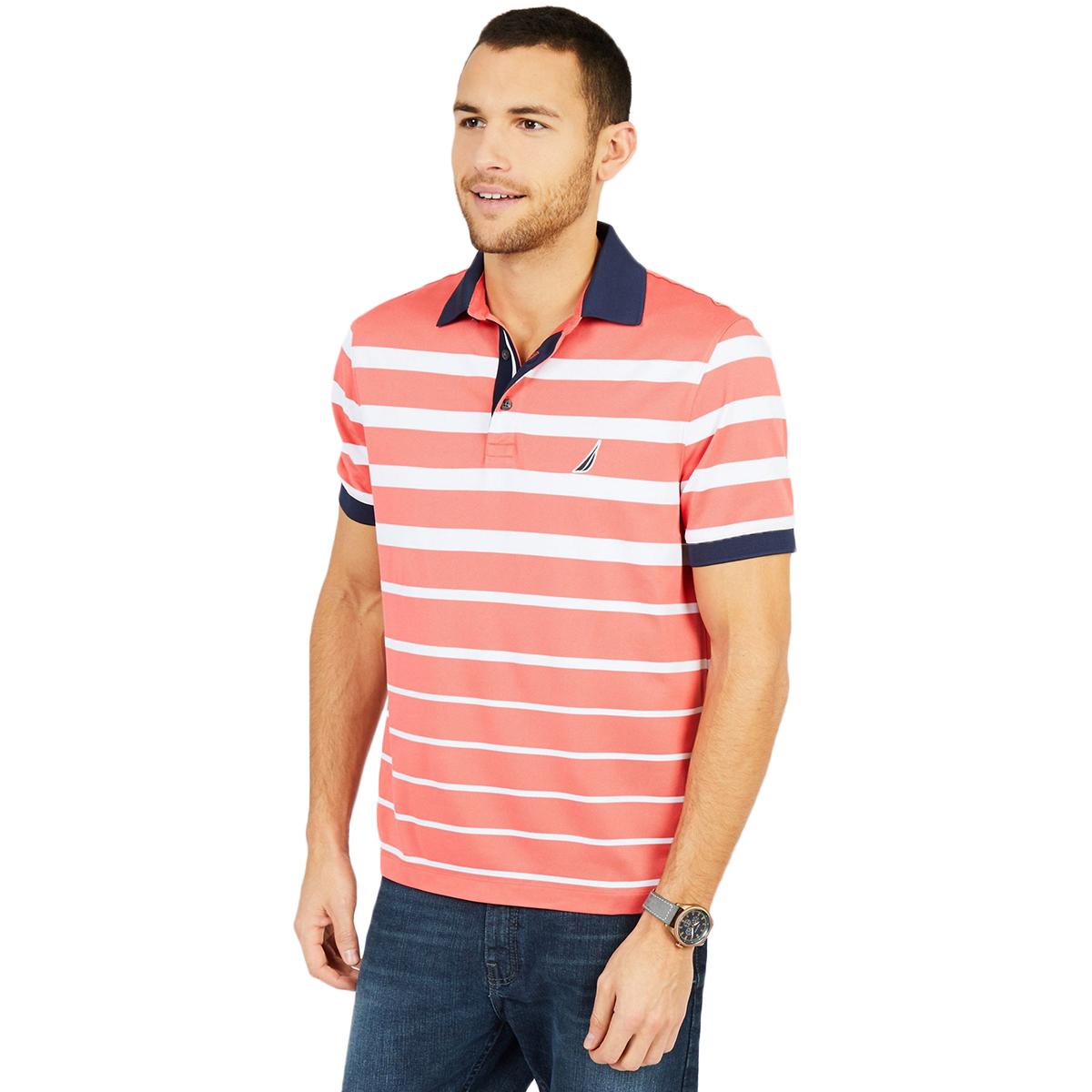 Nautica Men's Striped Performance Polo Shirt - Orange, XL