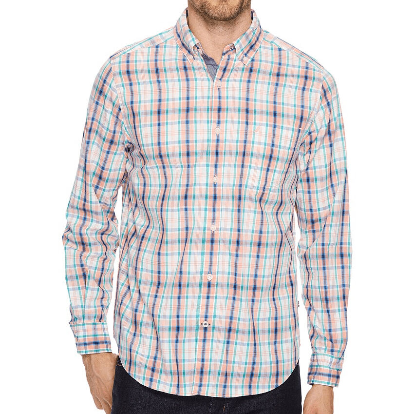 Nautica Men's Plaid Classic Fit Long-Sleeve Shirt - Orange, M
