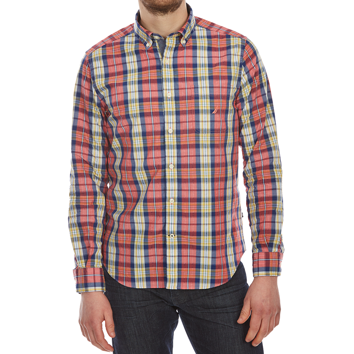 Nautica Men's Large Leno Plaid Woven Long-Sleeve Shirt - Red, L