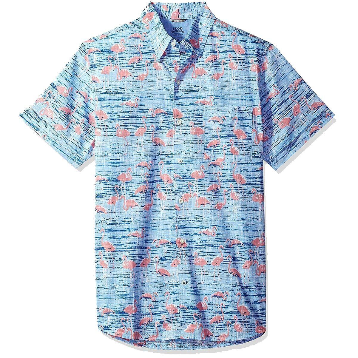Izod Men's Dockside Flamingo Chambray Shirt - Blue, XL