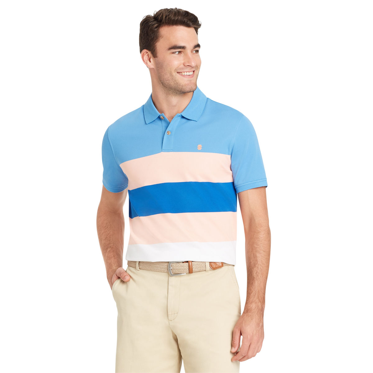 Izod Men's Advantage Performance Colorblock Stripe Short-Sleeve Polo Shirt - Orange, XL