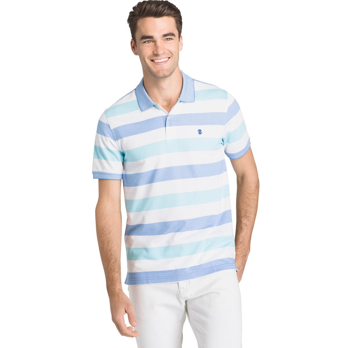 Izod Men's Advantage Performance Stripe Short-Sleeve Polo Shirt - Blue, XXL