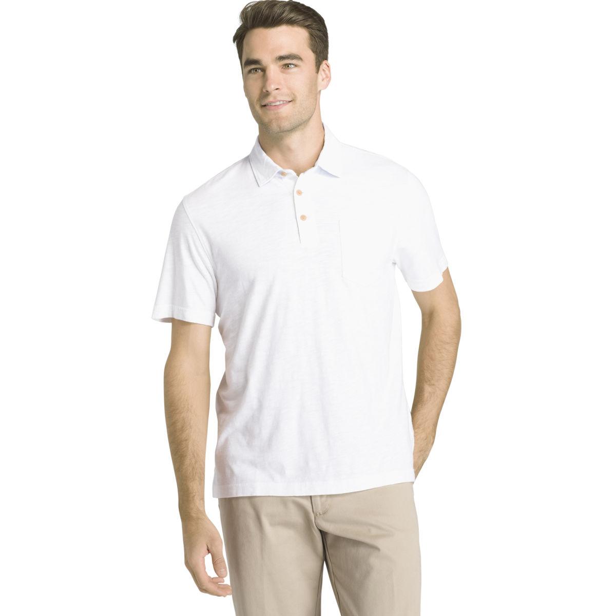 Izod Men's Wellfleet Slub Short-Sleeve Polo Shirt - White, L