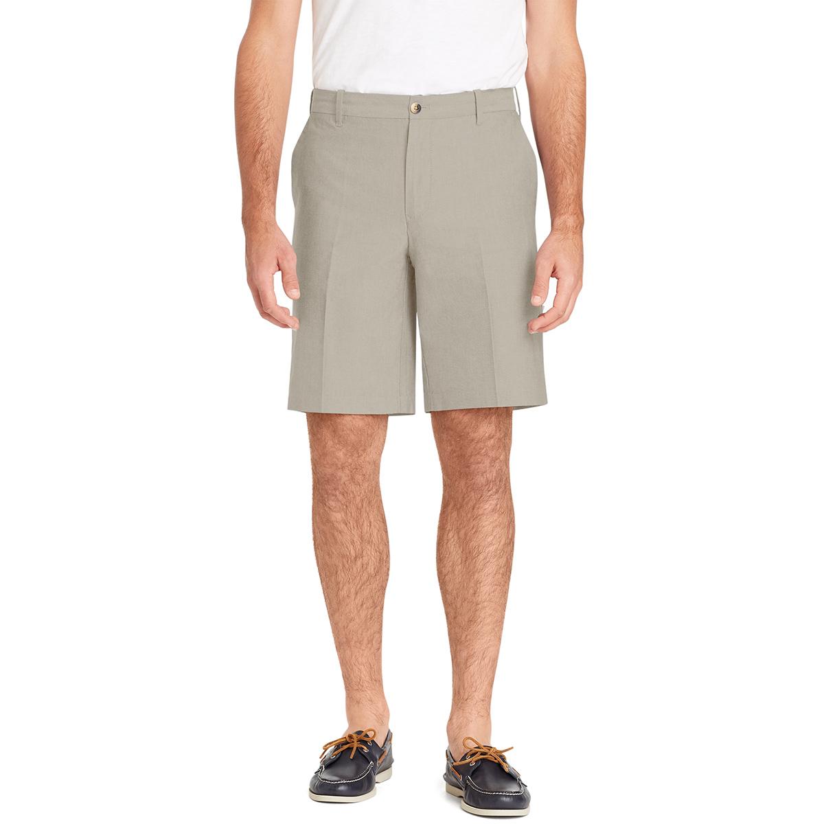 Izod Men's Newport Flat-Front Oxford Shorts - Brown, 34