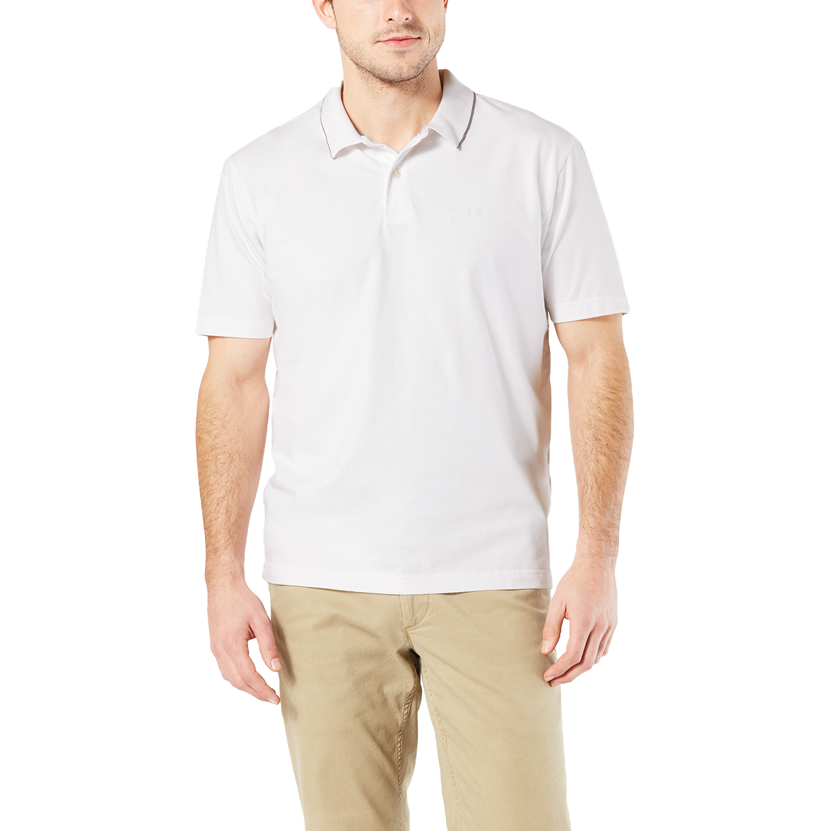 Dockers Men's Performance Short-Sleeve Polo Shirt - White, L