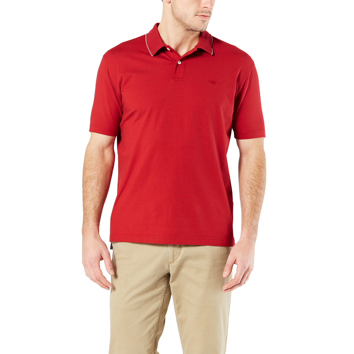 Dockers Men's Performance Short-Sleeve Polo Shirt - Red, M