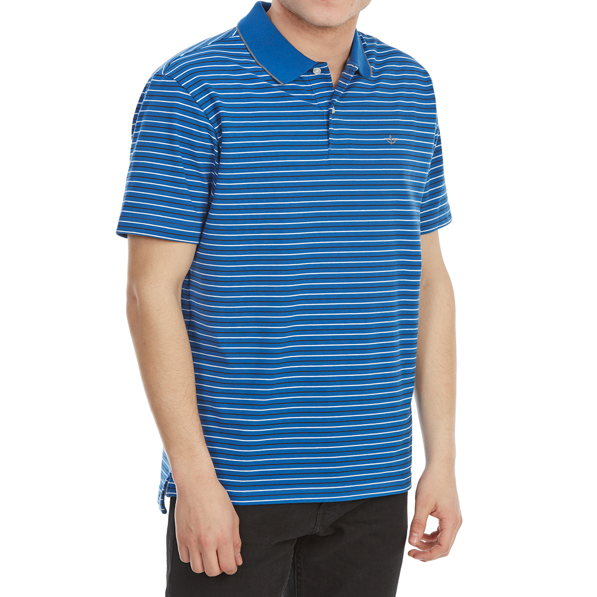 Dockers Men's Performance Stripe Short-Sleeve Polo Shirt - Blue, M