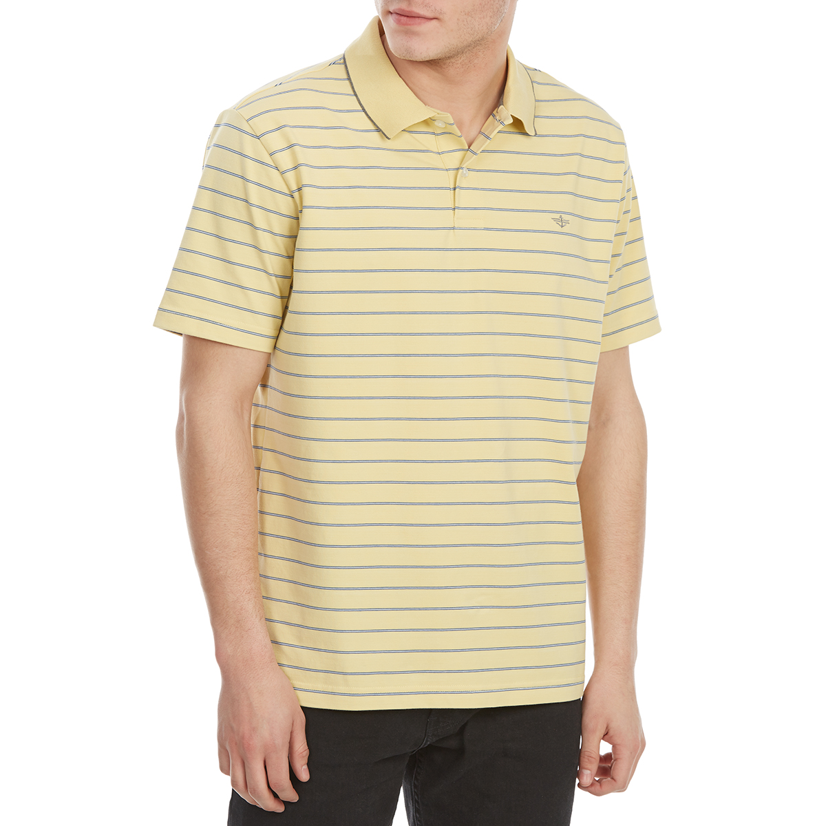 Dockers Men's Performance Stripe Short-Sleeve Polo Shirt - Yellow, XL