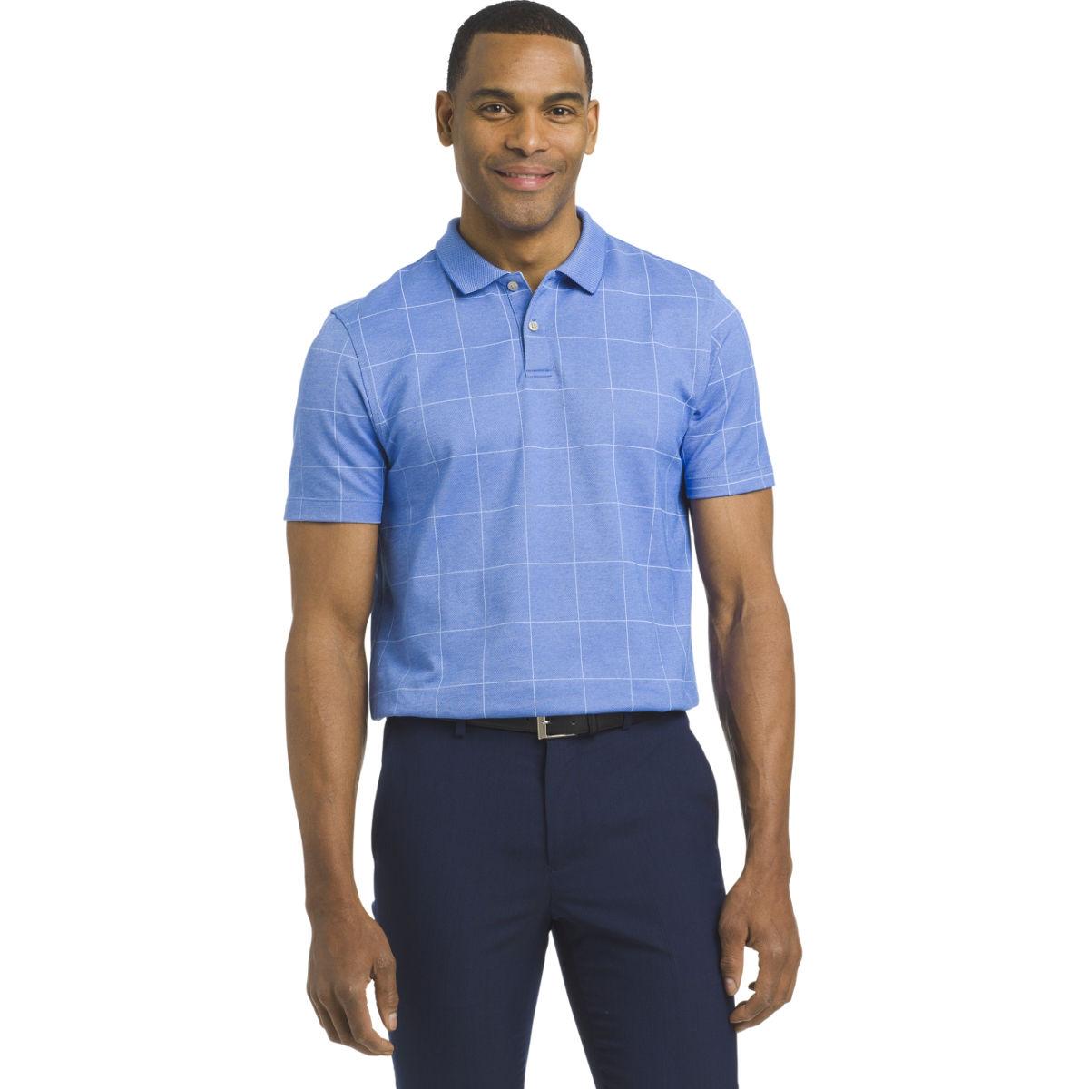 Van Heusen Men's Flex Print Windowpane Short-Sleeve Polo Shirt - Blue, M