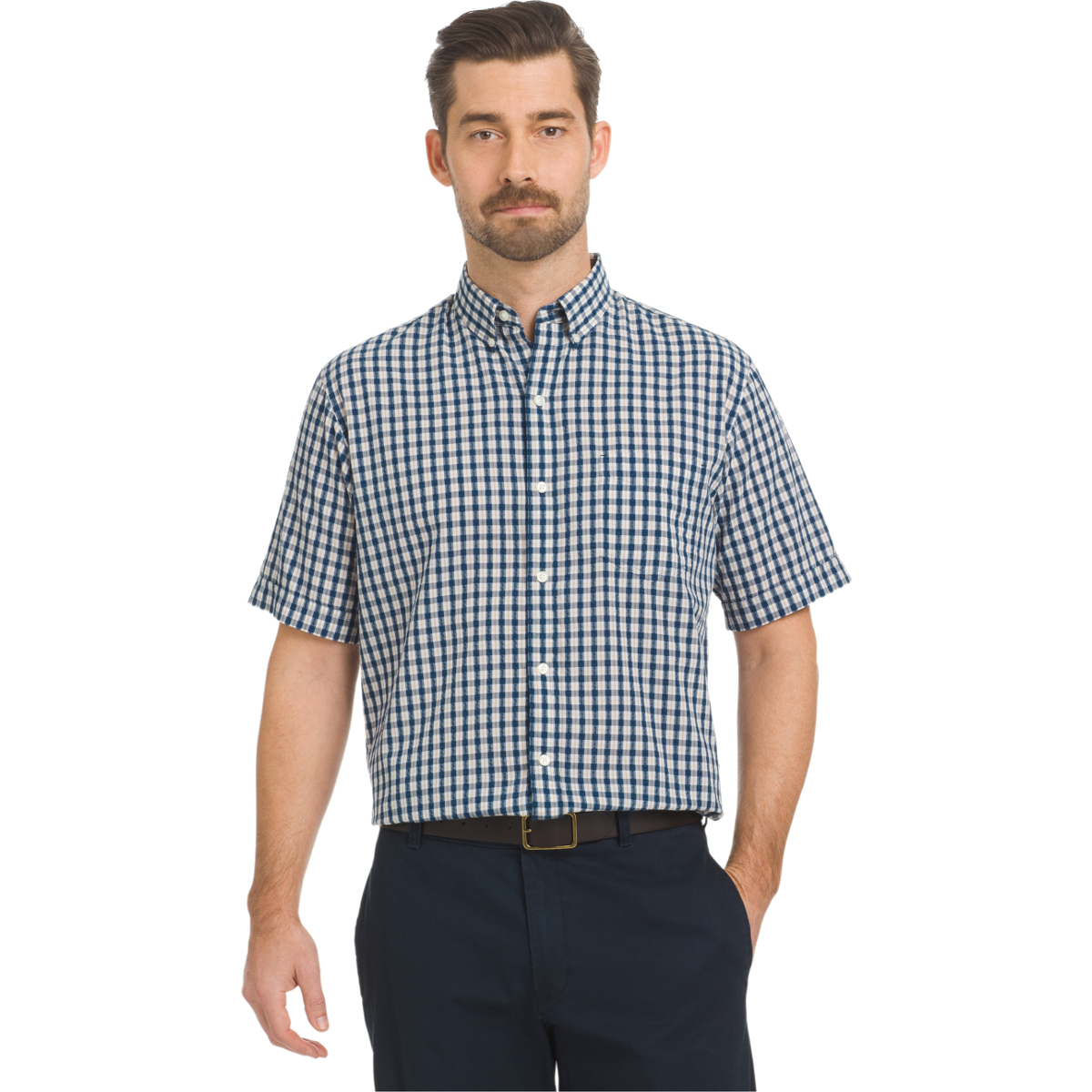 Arrow Men's Seersucker Small Plaid Woven Short-Sleeve Shirt - Blue, L
