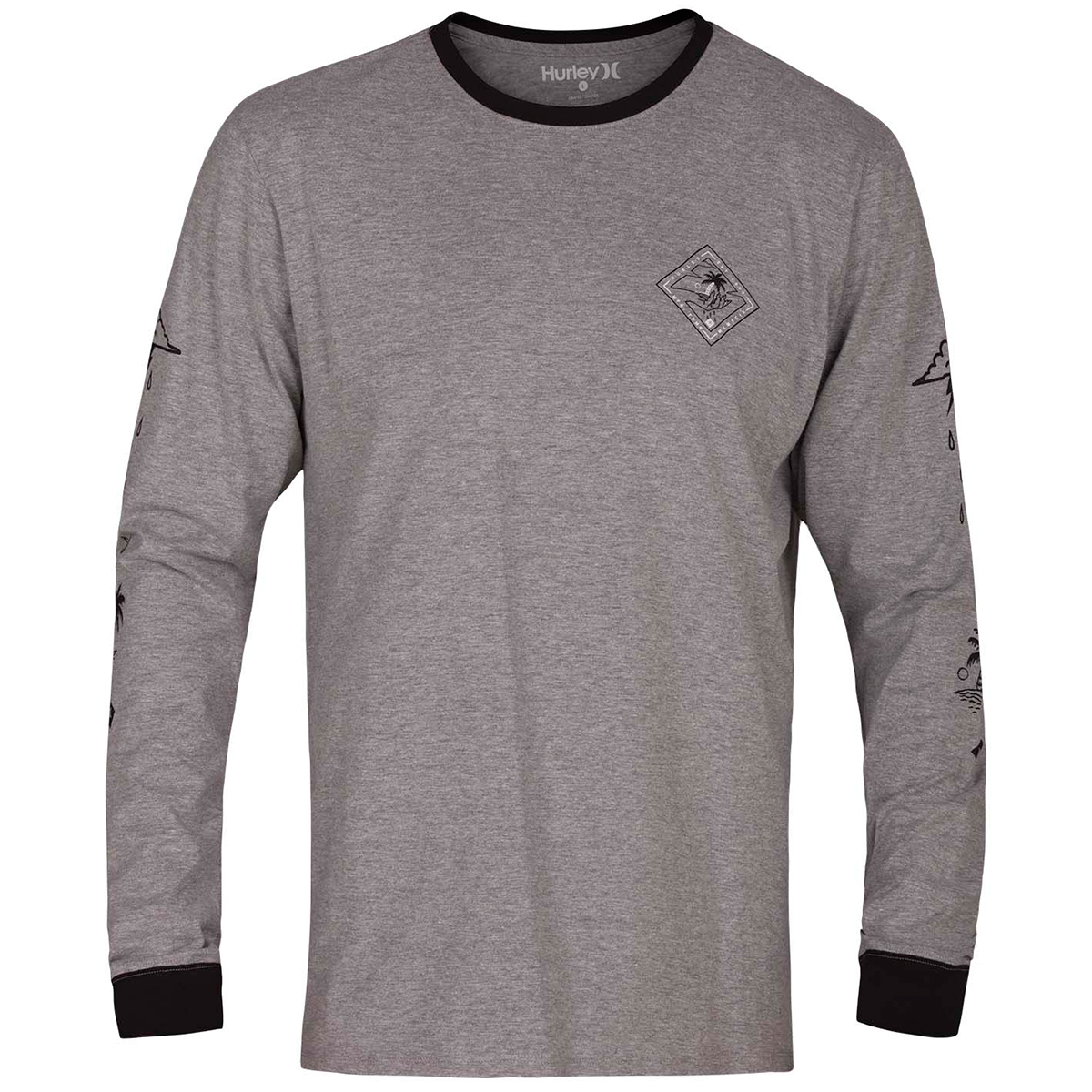 Hurley Guys' Palm Reader Long-Sleeve Tee - Black, L
