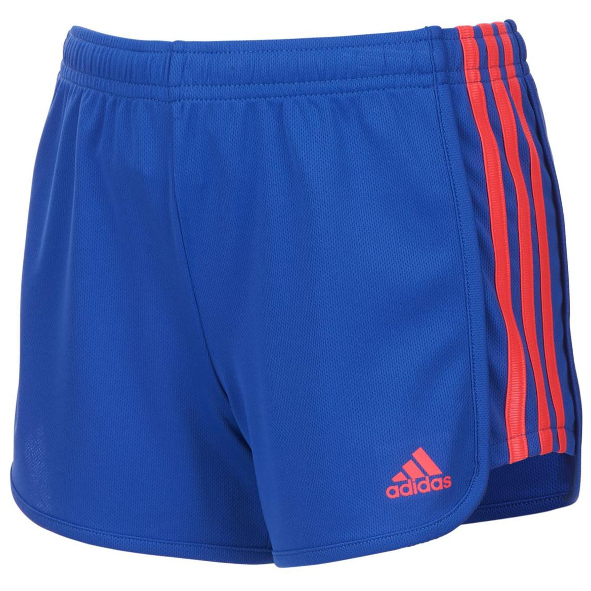 Adidas Little Girls' Three-Stripe Mesh Shorts - Blue, 6X