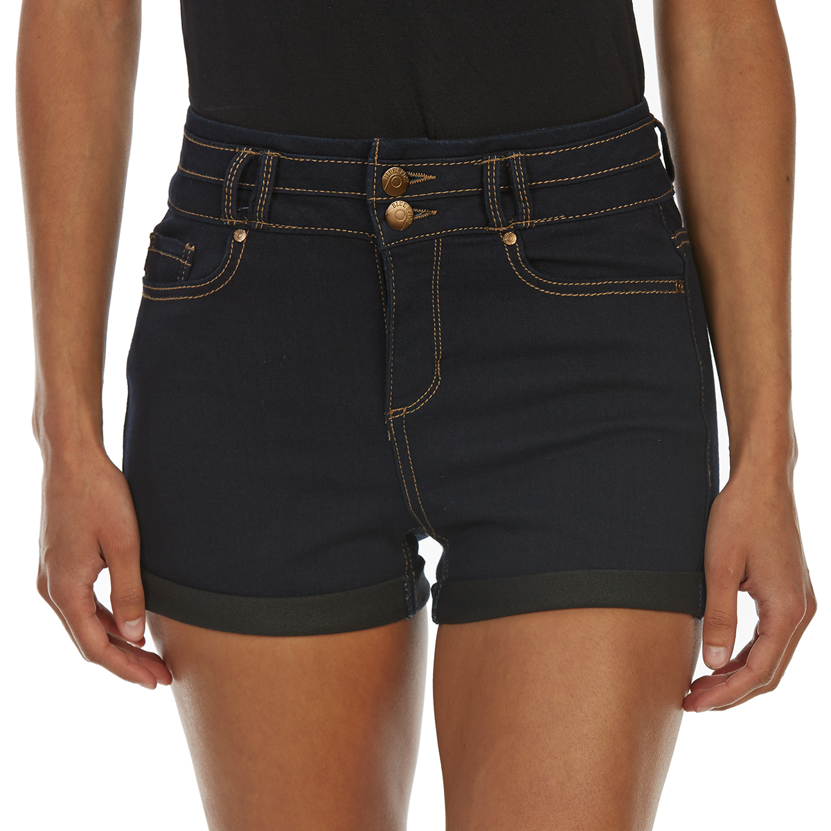 Blue Spice Juniors' High-Rise 2-Button Stacked Waist Roll Cuff Denim Shorts