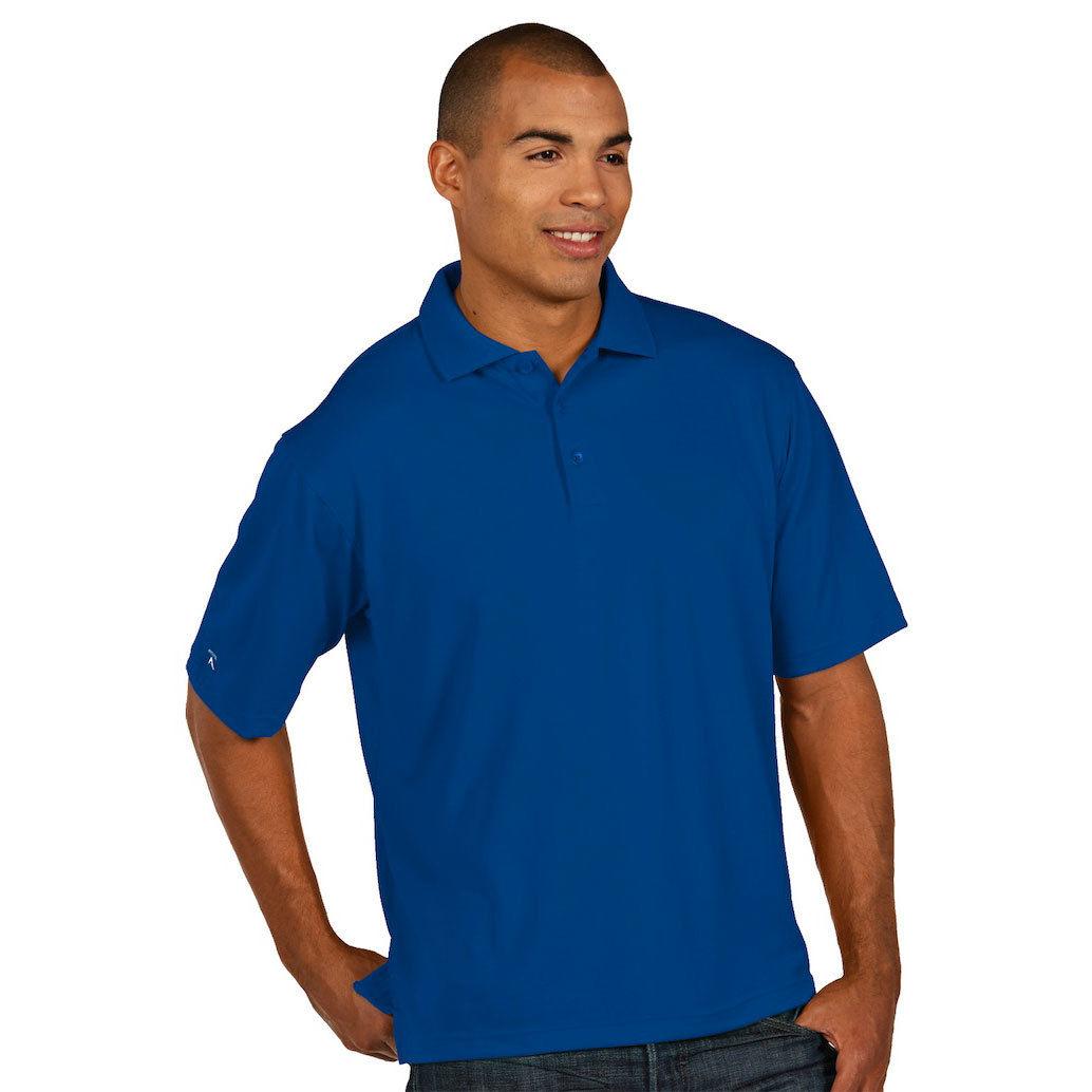 Antigua Men's Pique Xtra Lite Short-Sleeve Polo Shirt - Blue, L