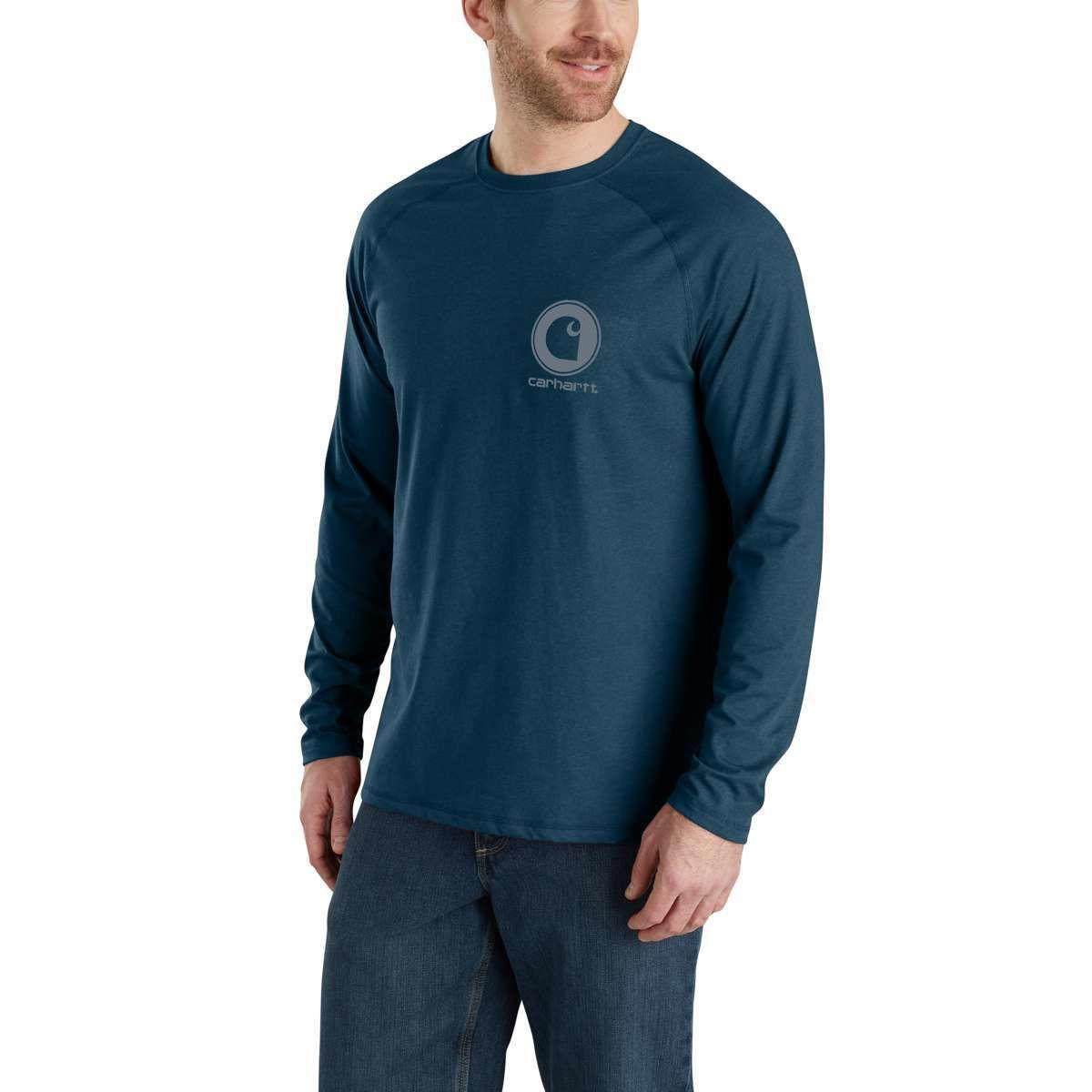 Carhartt Men's Force Delmont Long-Sleeve Graphic Tee - Blue, XL
