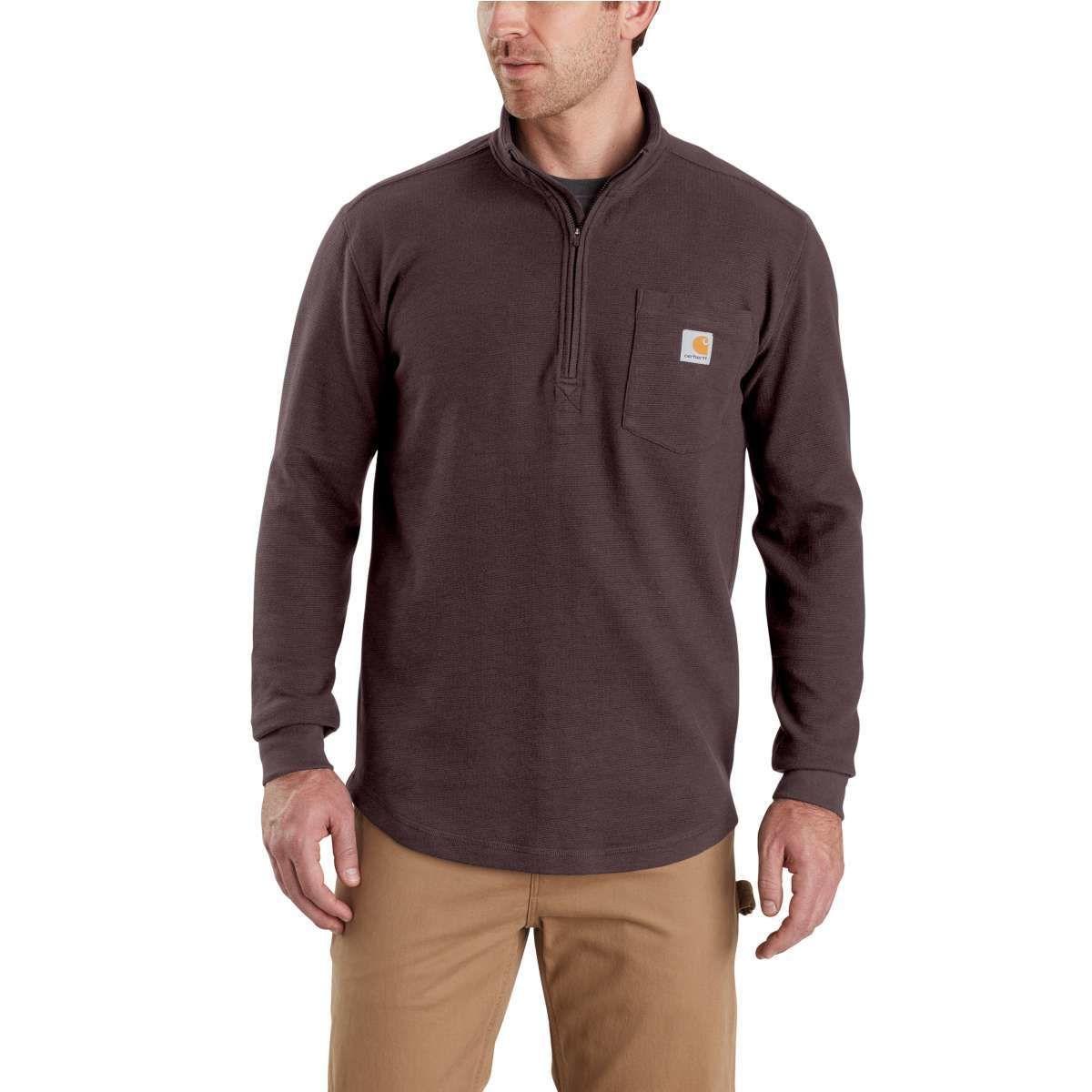 Carhartt Men's Tilden Long-Sleeve Waffle Knit Half-Zip Pullover - Red, XXL