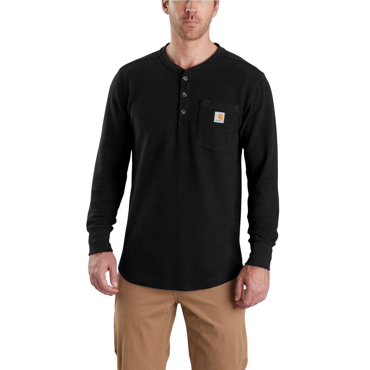 Carhartt Men's Tilden Long-Sleeve Henley Shirt - Black, M