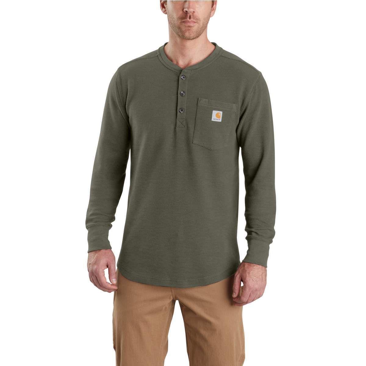 Carhartt Men's Tilden Long-Sleeve Henley Shirt - Green, M