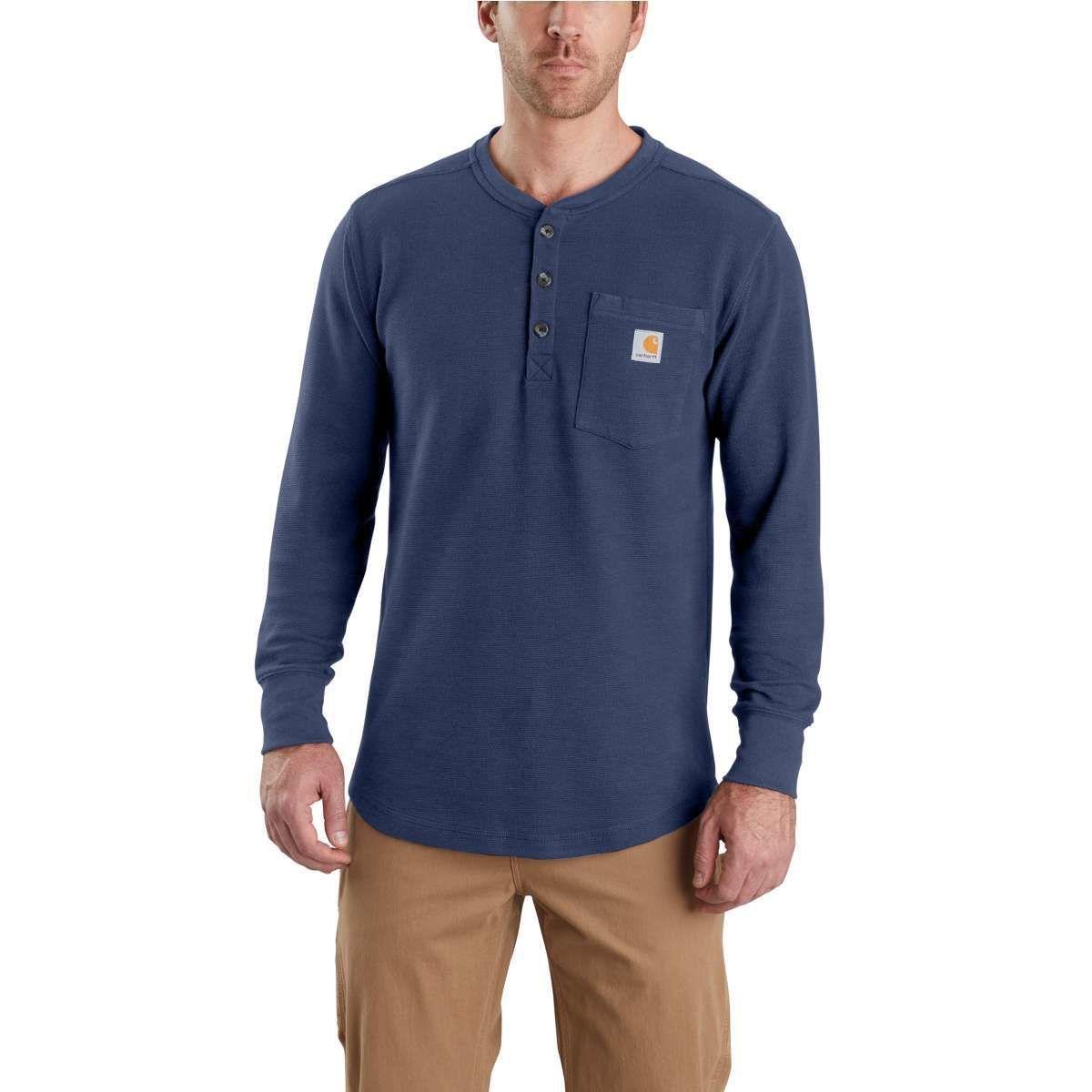 Carhartt Men's Tilden Long-Sleeve Henley Shirt - Blue, M