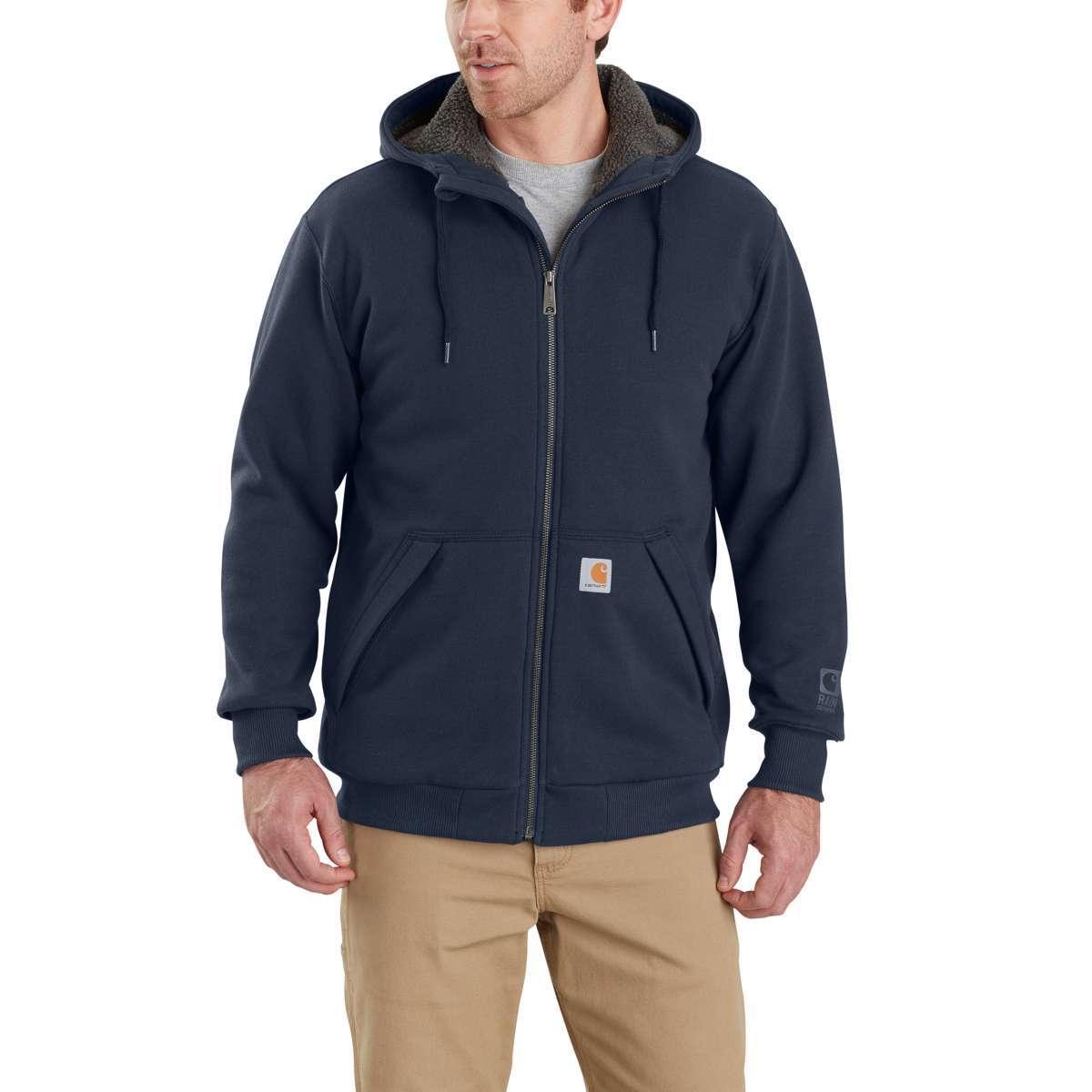 Carhartt Men's Rain Defender Rockland Sherpa-Lined Full-Zip Hoodie - Blue, M