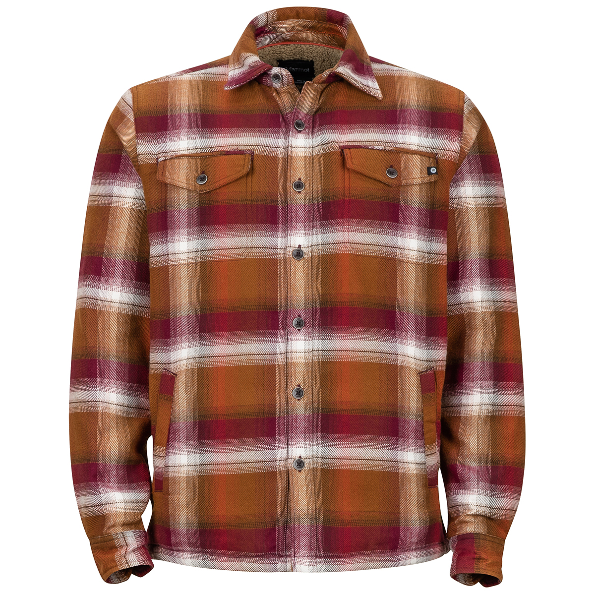 Marmot Men's Ridgefield Long-Sleeve Flannel Shirt - Orange, M