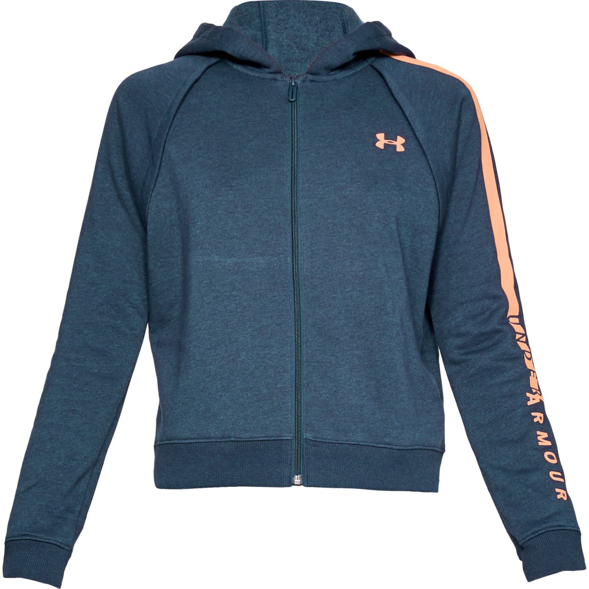 Under Armour Women's Ua Rival Fleece Full-Zip Hoodie - Blue, XL