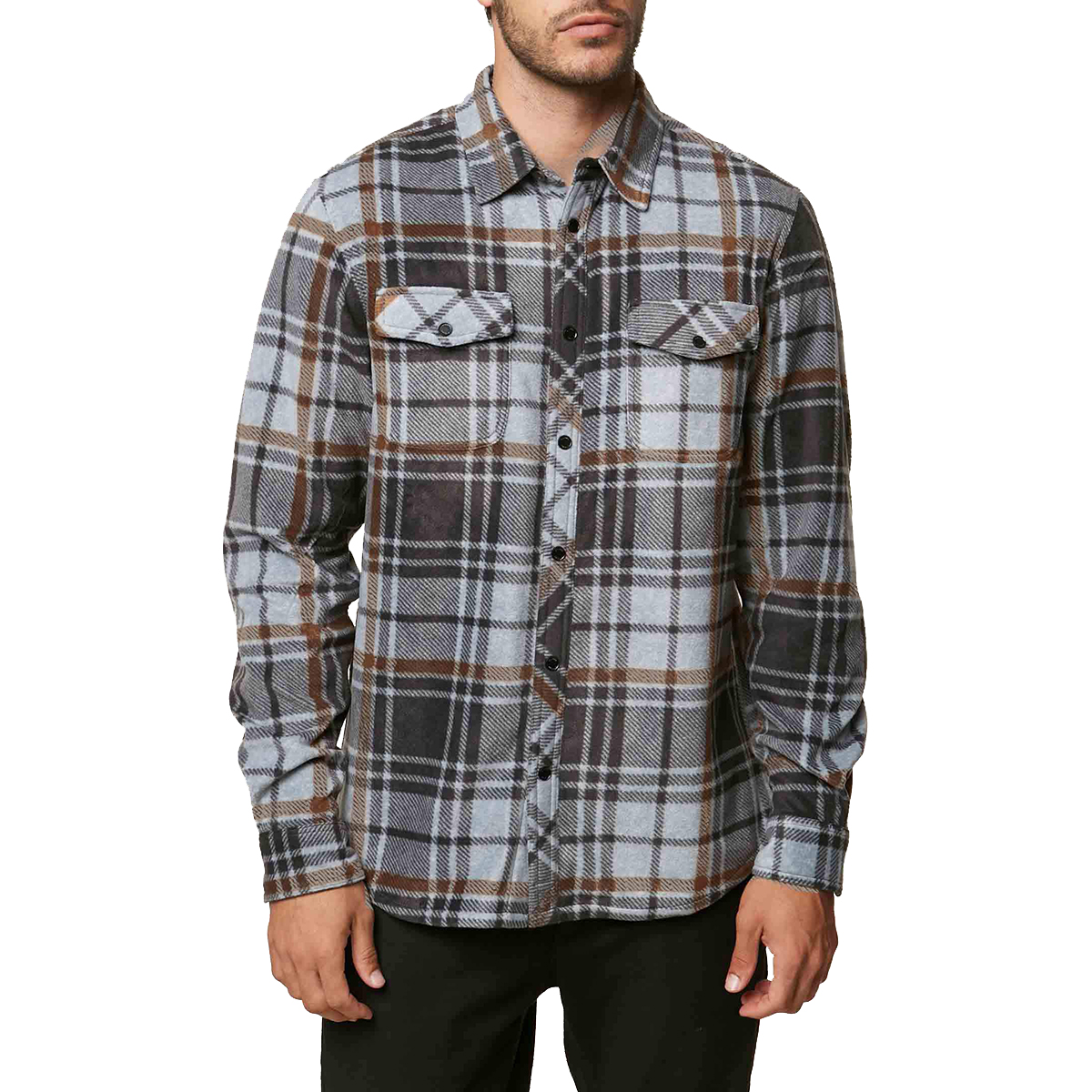 O'neill Guys' Glacier Plaid Long-Sleeve Shirt - Black, L