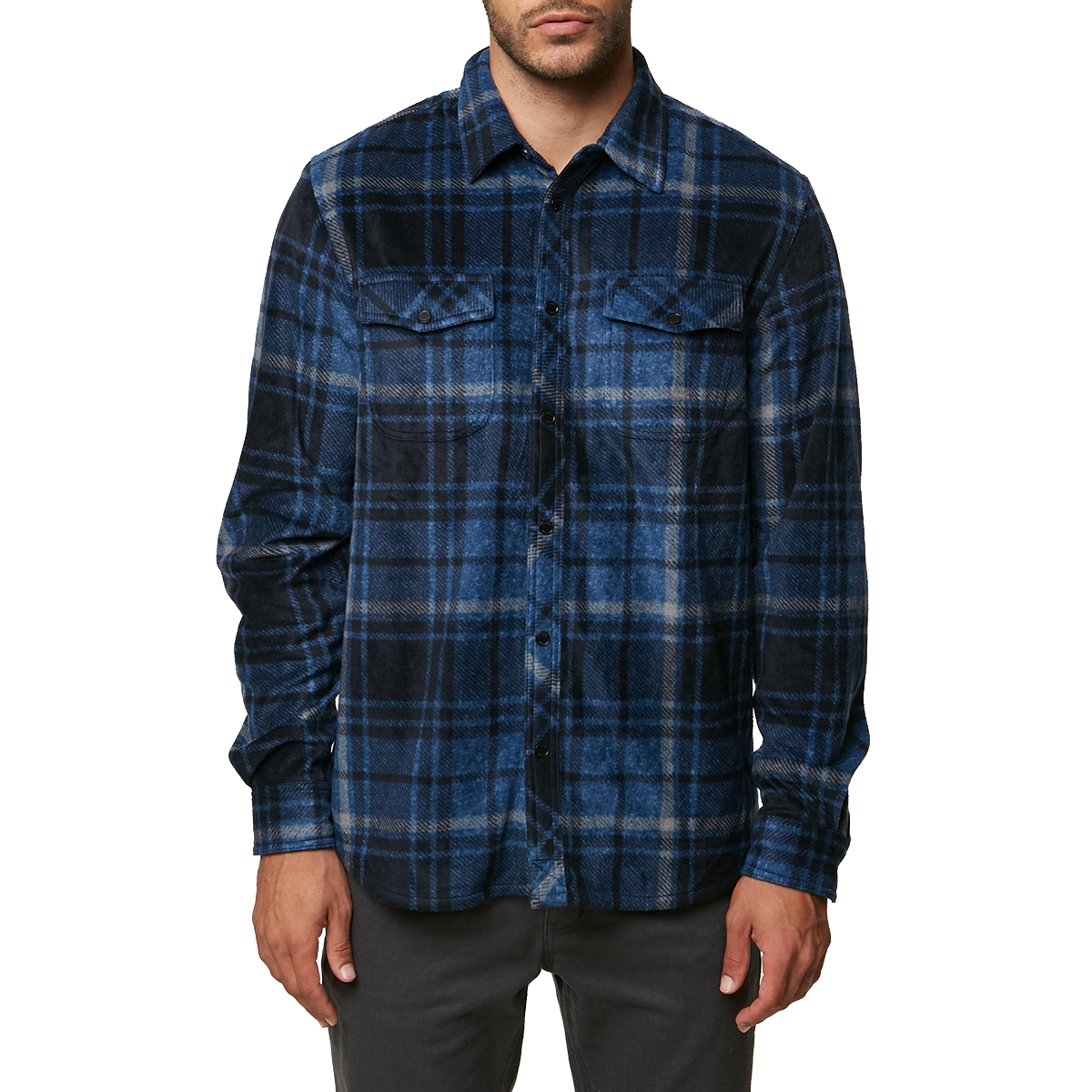 O'neill Guys' Glacier Plaid Long-Sleeve Shirt - Blue, L