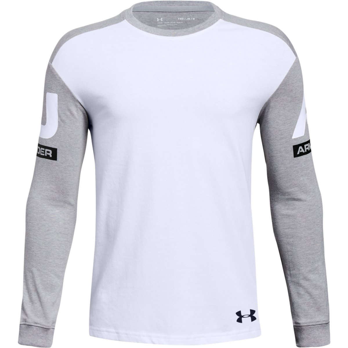 Under Armour Big Boys' Ua Sportstyle Crew Long-Sleeve Shirt - White, L