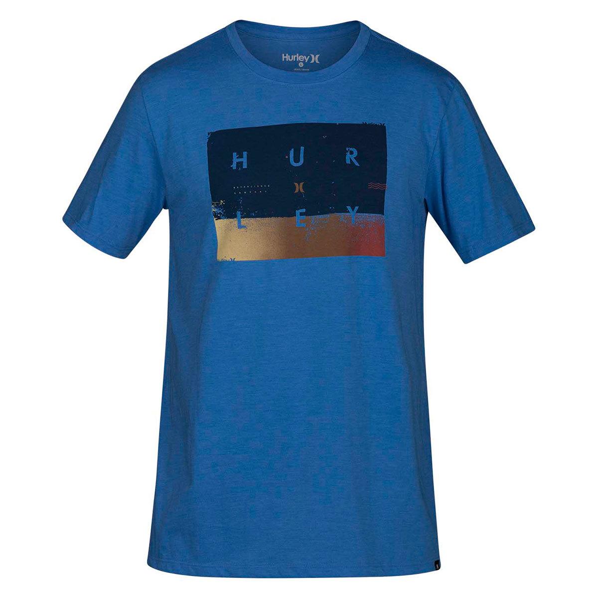 Hurley Guys' Premium Breaking Sets Short-Sleeve Tee - Blue, M