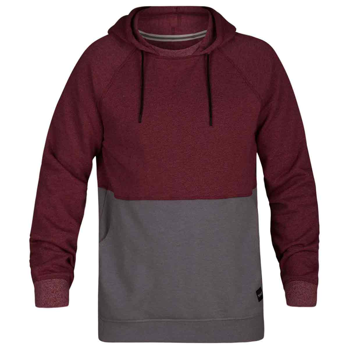 Hurley Guys' Crone Blocked Pullover Hoodie - Red, L