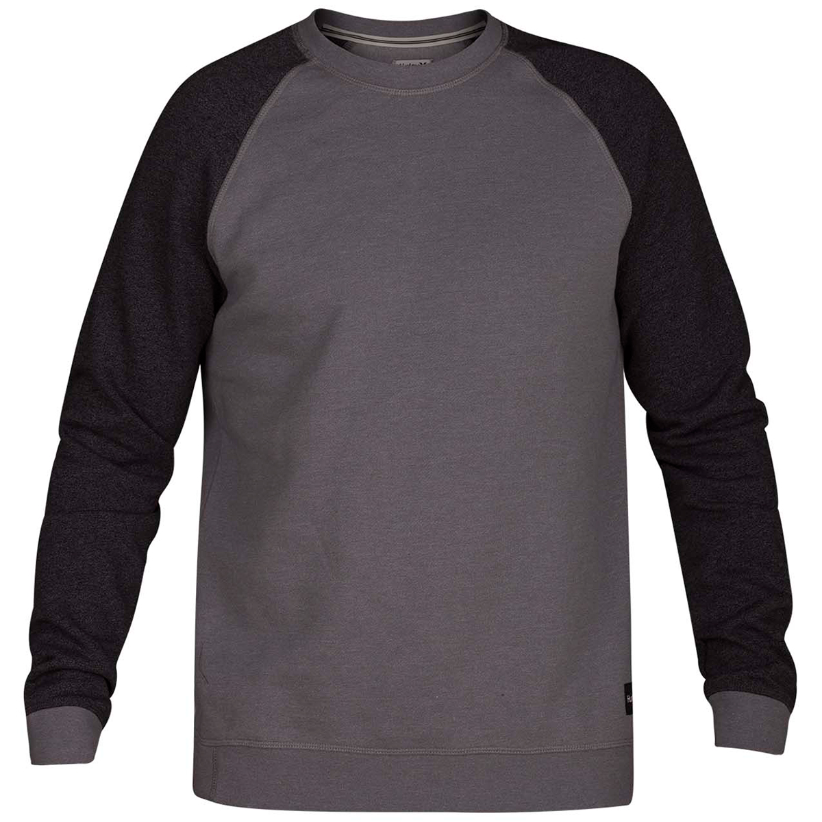 Hurley Guys' Crone Crew Long-Sleeve Fleece Pullover - Black, XL