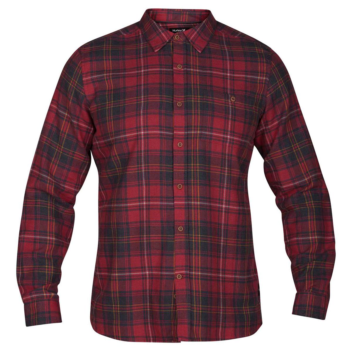 Hurley Guys' Kurt Long-Sleeve Shirt - Red, M