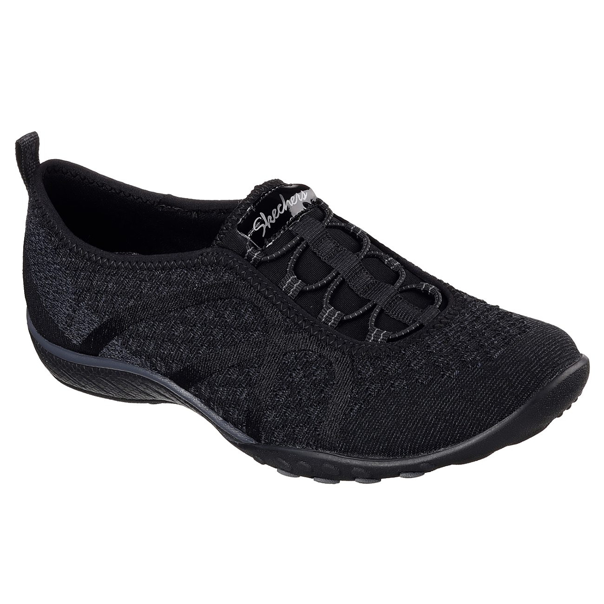 Skechers Women's Relaxed Fit: Breathe Easy - Fortune-Knit Casual Slip-On Shoes - Black, 11