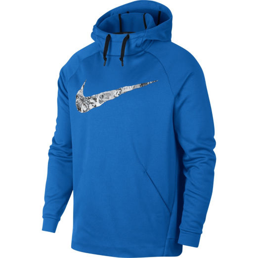 Nike Men's Therma Collage Logo Athletic Pullover Hoodie - Blue, L