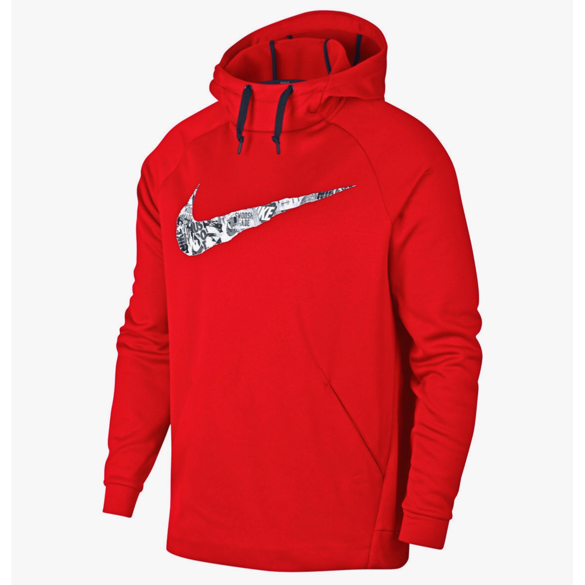 Nike Men's Therma Collage Logo Athletic Pullover Hoodie - Red, L