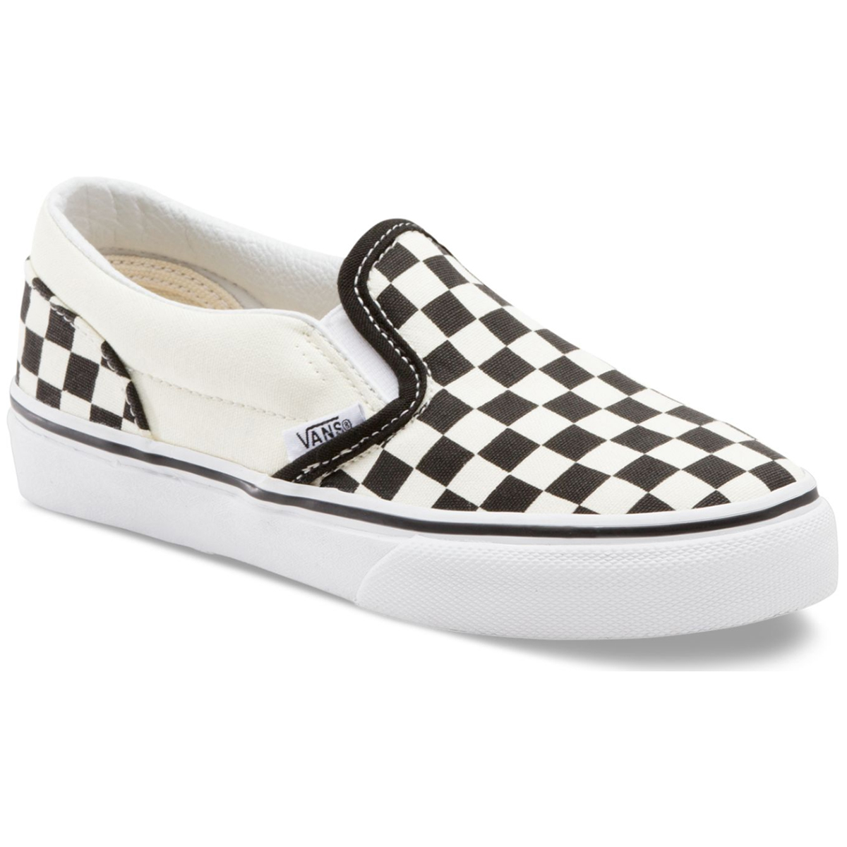 Vans Kids' Checkerboard Classic Slip-On Casual Shoes - Black, 2