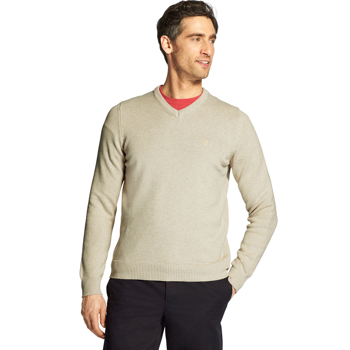 Izod Men's Premium Essentials V-Neck Sweater - Brown, L