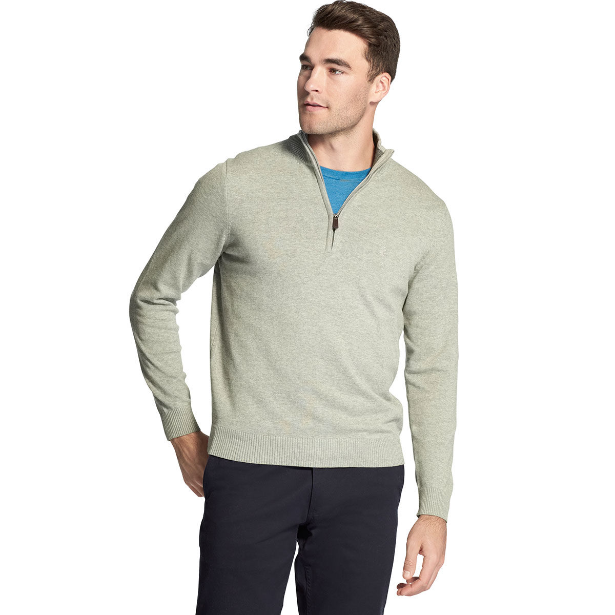Izod Men's Premium Essentials 1/4 Zip Sweater - Black, L
