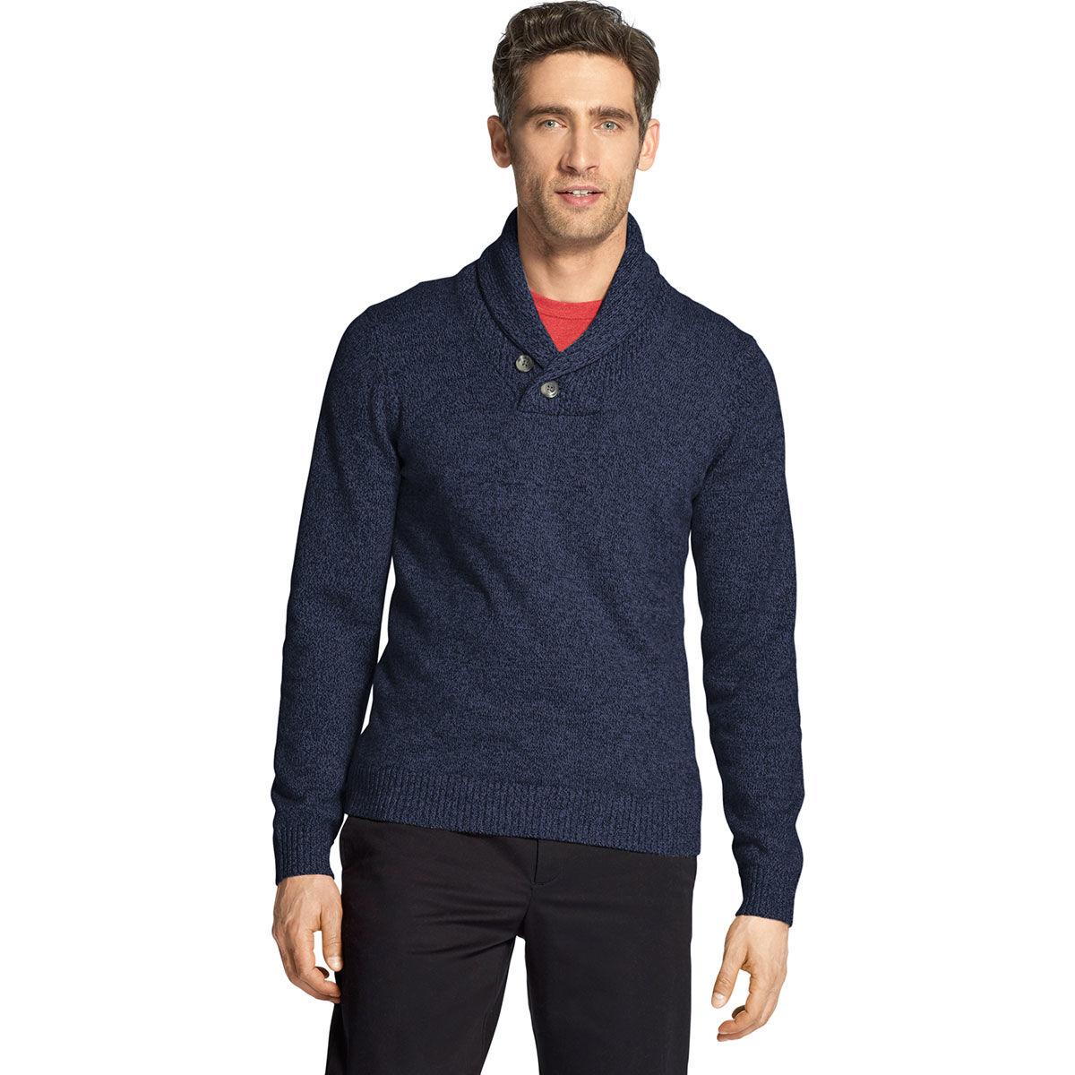 Izod Men's Premium Essentials Shawl Collar Sweater - Blue, XL
