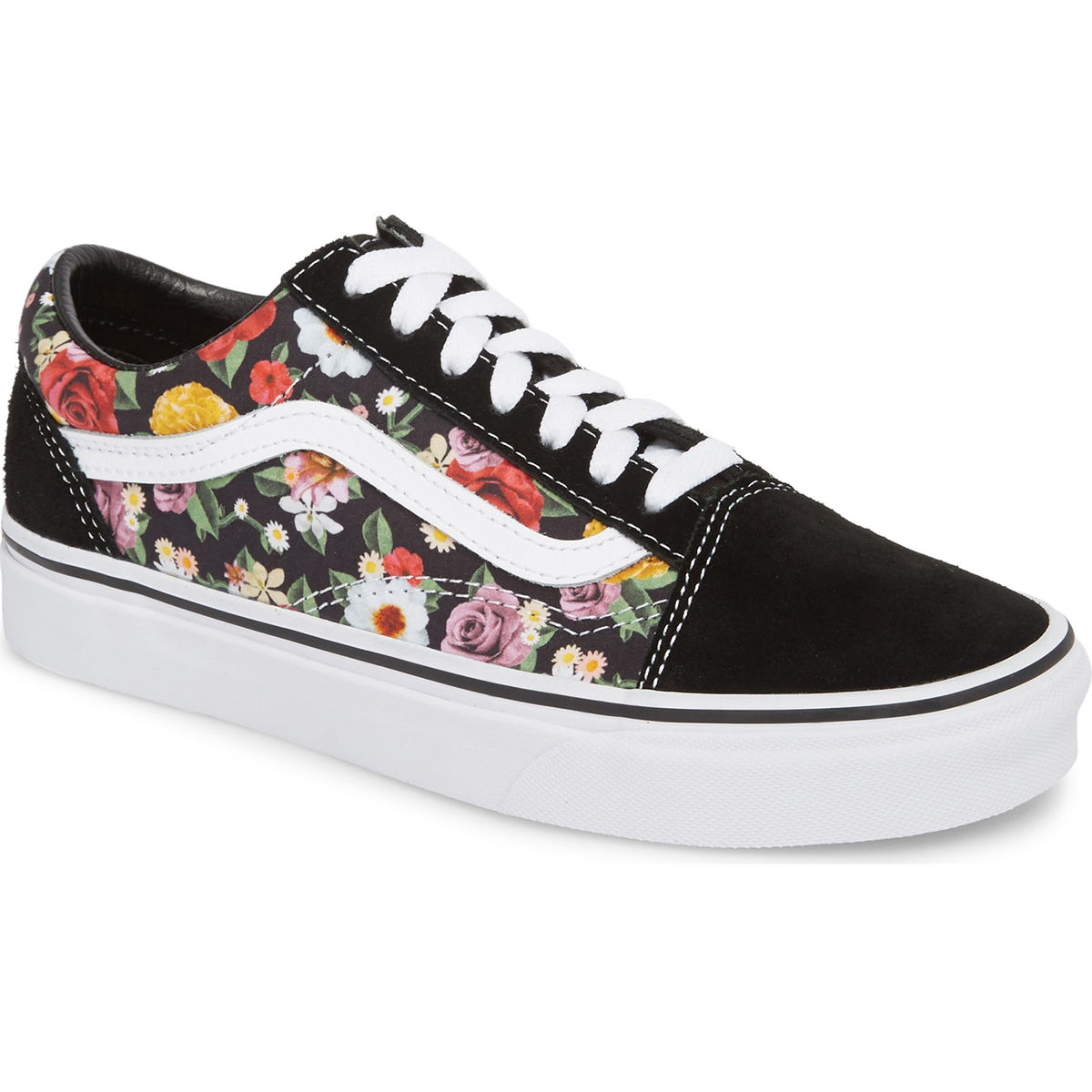 Vans Unisex Old Skool Lux Floral Sneakers - Black, 7.5