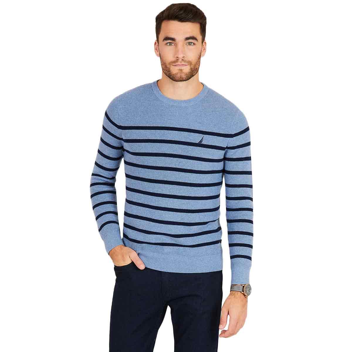 Nautica Men's Navtech Breton Stripe Crewneck Sweater - Blue, XXL