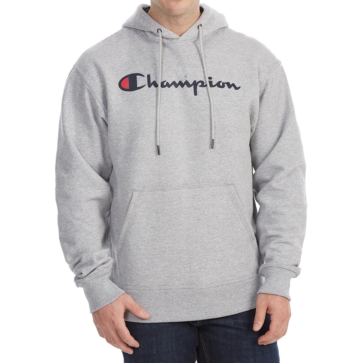 Champion Men's Powerblend Script Logo Pullover Hoodie - Black, L