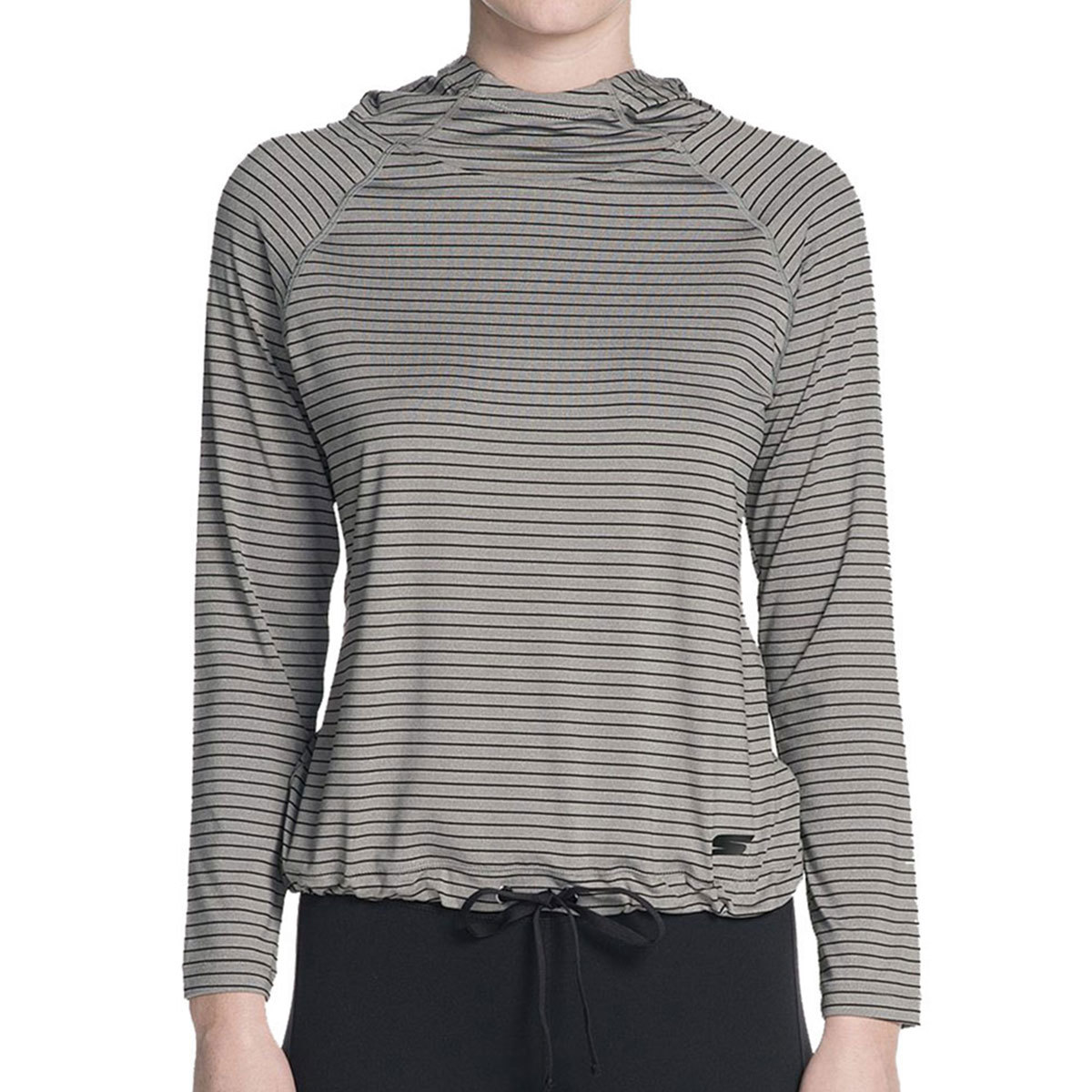 Skechers Women's Chakra Stripe Long-Sleeve Pullover Top - Black, S