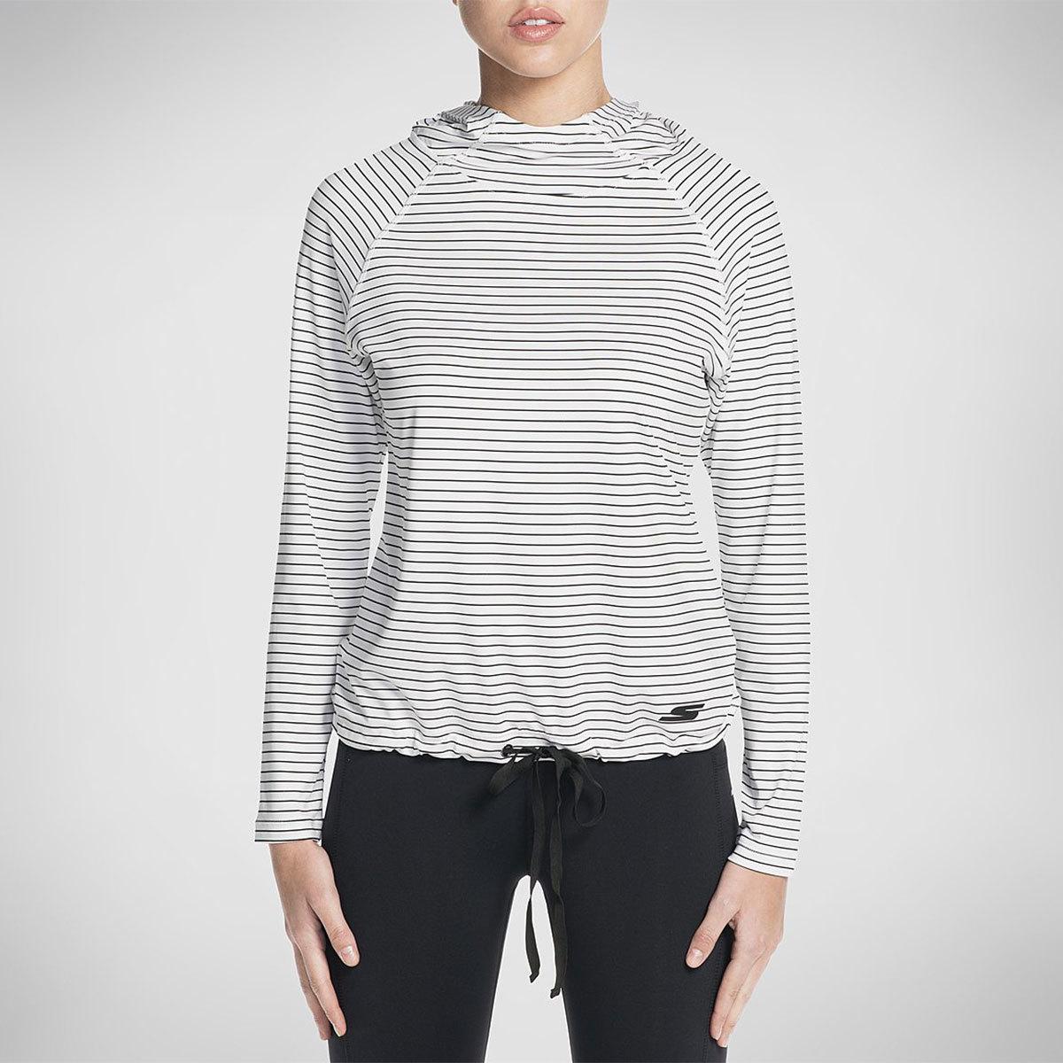 Skechers Women's Chakra Stripe Long-Sleeve Pullover Top - White, S