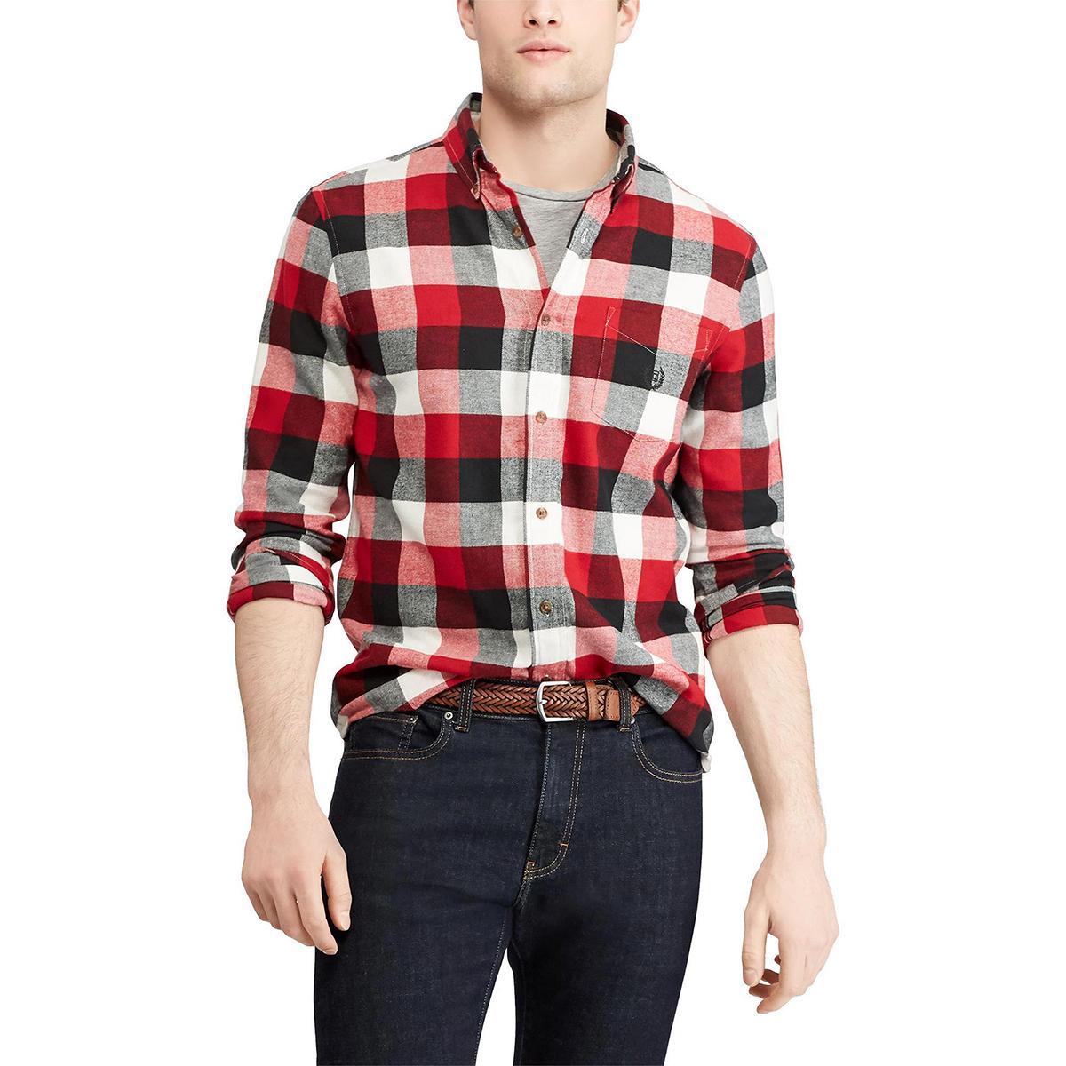 Chaps Men's Plaid Long-Sleeve Flannel Shirt - Red, M